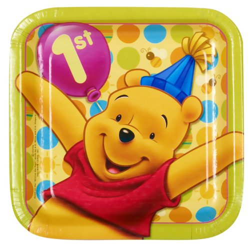 Pooh's 1st Birthday Square Dessert Plates (8) Party Supplies - 1