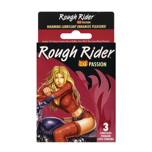 Contempo Rough Rider Studded Hot Passion Condom, 3 Count