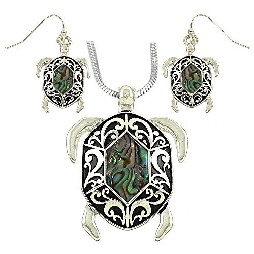 DianaL-Boutique-Sea-Turtle-Abalone-Shell-Pendant-Necklace-and-Earring-Set-with-19-Inch-Snake-Chain-Filigree-Design