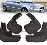 4PCS OEM Mud Flap Splash Guard Black Set Front & Rear Fit For 1998 1999 2000 2001 2002 2003 MAZDA PROTEGE SEDAN 323