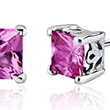 Created-Pink-Sapphire-Princess-Stud-Earrings-Sterling-Silver-250-Carats