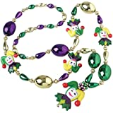 One Mardi Gras Jester Theme Beaded Necklace by CoolGlow