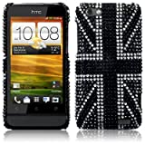 HTC One V Black Union Jack Diamante Case / Cover / Shell / Shield Part Of The Qubits Accessories Rangeby Qubits