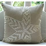 Starfish Pearls - 16x16 inches Square Decorative Throw Natural Beige Cotton Linen Pillow Covers with Jute & Mother Of Pearl Embroidery