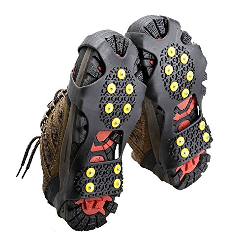 Snow Ice Climbing Safety Boots Shoes Spikes Grips Crampon Cleats 10-Stud Grippers Anti Slip Overshoes Cover for Winter Outdoor Activity L