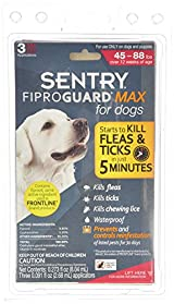 SENTRY Fiproguard Max for Dogs 45 - 88 Pounds 3 Doses Kills Fleas, Ticks, Lice