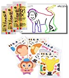 Zoo Animal Stickers & Wikki Stix Party Favor Pack - 24 Pc (12 Make-a-zoo Safari Animal Sticker Sheets & 12 Pkgs of Jungle Animal Wikki Stix)