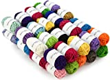 Miragoodsbasics Basic 40 Assorted Colors Acrylic Yarn Skeins with 2 E-Books