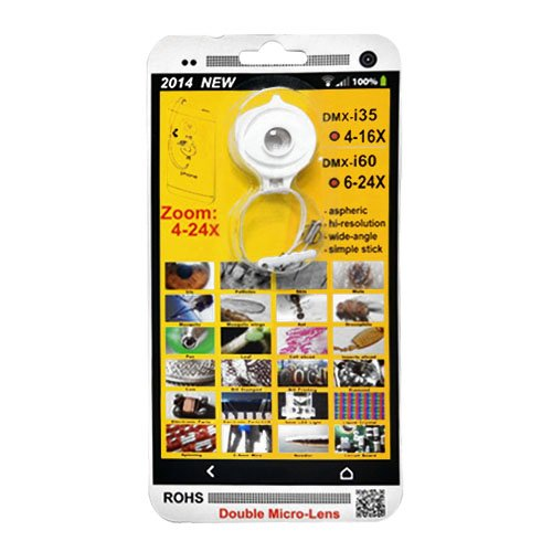 FlyStone® Zoom 4-24X Double Micro Lens for Cell phone, Tablet PC, Digital Camera, Apple iPhone 6 Air, Samsung Galaxy S5, Sony Z2, Google Nexus 5, HTC One (M8) Mobile Phones & Tablet. Macro Lens / Aspheric / Hi-resolution / Wide-angle / Simple Stick / ROHS (4-24X White)