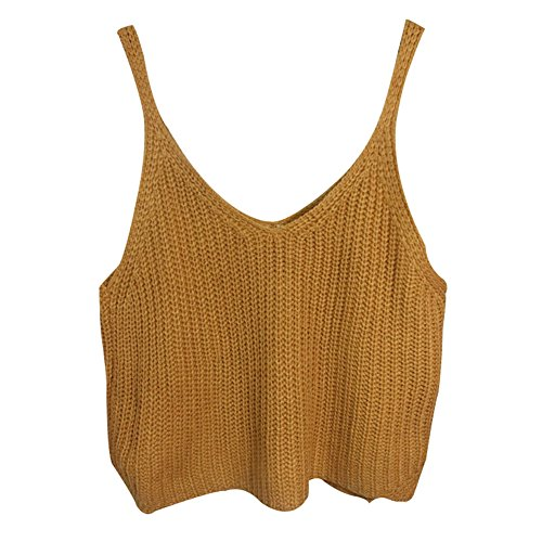 Aphratti Women's Sleeveless V-neck Caddice Crop Top Shirt One Size Khaki (Cute Cheap Crop Tops compare prices)