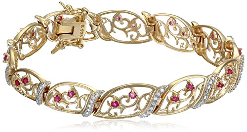 18k Yellow Gold-Plated St Silver Ruby & Diamond Bracelet