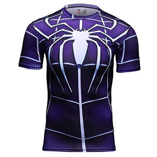 Cody Lundin Camicia maglia da Running Fitness 3D stampato eroe Spider logo maschio top uomini manica corta (M)