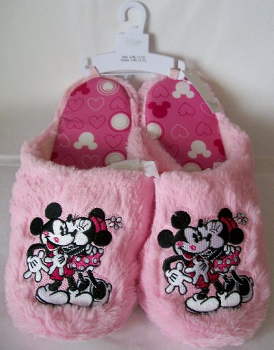 Cheap Womens Size L/xl 11-12 Pink Plush Mickey and Minnie Mouse Slippers Disney (B008SBH7YA)