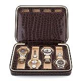Amzdeal 8 Slot Zippered Watch Box Leather Crocodile Pattern Jewelry Display Case Organizer (Coffee)