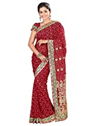 Designer Adorable Maroon Colored Embroidered Faux Georgette Saree By Triveni