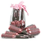 Head Jog 5 Piece Professional Ionic + Ceramic Pink Radial Hair Brush Gift Set
