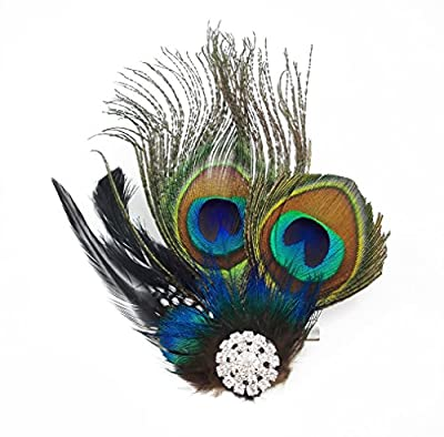 Yueton® Peacock Feather Hair Clip Pin Bridal Wedding Dance Party Hair Accessory