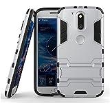 Enflamo Heavy Duty Hard Back Hybrid Cover Case For Motorola Moto G G4 Plus, 4th Gen (Silver)
