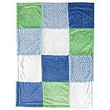 Hudson Baby Multi-Fabric Blanket, Blue