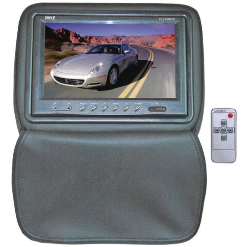 Pyle Pl91Hrgr Adjustable Headrest W/ Built-In 9'' Tft/Lcd Monitor W/Ir Transmitter & Cover (Gray)