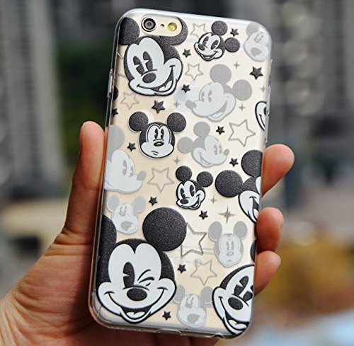 For iPhone 5 / 5S Case - Disney Mickey Mouse Faces Soft TPU Black/Clear Transparent Rubber Silicone ULTRA THIN Slim Fitting Skin Cover (Apple iPhone 5 / 5S)