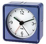 Silent Alarm Clock TFA Push Sweep Movement without Ticking / Metallic Blue