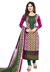 Salwar House Multicolor Unstitched Cotton Printed Dress Material with Dupatta