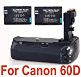 Professional BG-E9 Battery Grip + 2 LP-E6 Batteries for Canon EOS 60D Digit ....