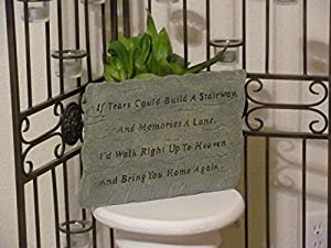 Pet Memorial Stone with sentiment poem to honor a beloved dog, cat or other pet - durable weatherproof resin, If tears could build a stairway poem with BONUS card with full poem
