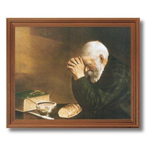 home inside daily bread man praying at dinner table grace religious picture oak framed art print. Black Bedroom Furniture Sets. Home Design Ideas