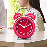 UniqueBella Ultra Silent Quartz Analog Twin Bell Loud Alarm Clock with Nightlight Red