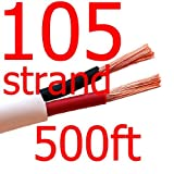 Premium 105 Strand Count 14/2 Awg 500 Ft 2/C CL3 - CL3R - CMR In Wall Speaker Wire/Cable UL Listed - WHITE - Rated for Indoor Home Audio - Security - And Riser Applications for Commercial Projects (Real Oxygen Free Bare Copper) NOT CCA!