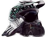 Adult Offroad Helmet Goggles Gloves Gear Combo DOT Motocross ATV Dirt Bike MX Black Green Splatter ( M Medium )