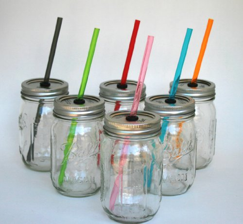 Mason Jar Lid with Reusable Green Straw turn your mason jar into a glass