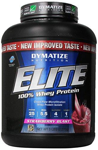 Dymatize Nutrition Elite Whey Shake, Strawberry Blast, 5 Pound
