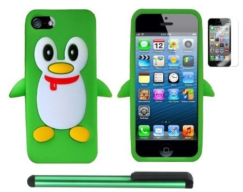 =>>  Neon Green Penguin Move On Future Silicone Skin Premium Design Protector Soft Cover Case Compatible for Apple Iphone 5 (AT&T, VERIZON, SPRINT) + Screen Protector Film + Combination 1 of New Metal Stylus Touch Screen Pen (4