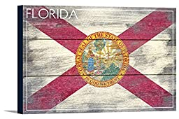 Florida State Flag - Barnwood Painting (18x12 Gallery Wrapped Stretched Canvas)