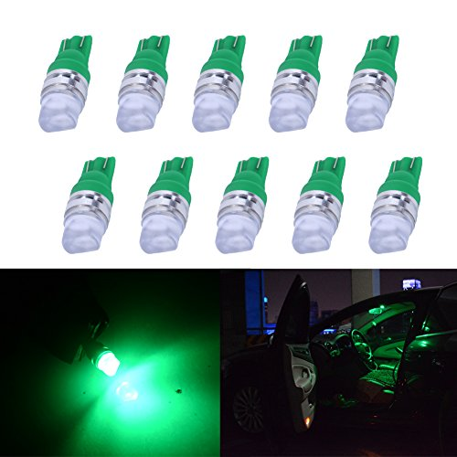 YUMSEEN Pack of 10 Green 194 LED Light bulb T10 1W 2835 3SMD 168 192 194 LED Bulbs Dome Courtesy Map Lights (Green) (T10 Led Bulb Green compare prices)