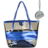 Micom Tawny Semi-clear Tote Bags Stripe PVC Beach Shoulder Bag with Micom Zip Pouch 14.9x12.6x4.3(inches)