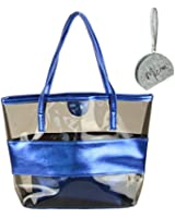 Micom Tawny Semi-clear Tote Bags Large Stripe PVC Lash Package Beach Shoulder Bag with Interior Pocket with Micom Zip Pouch