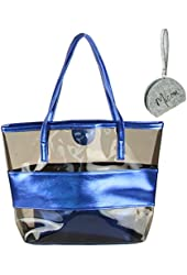 Micom Tawny Semi-clear Tote Bags Stripe PVC Lash Package Beach Shoulder Bag with Interior Pocket with Micom Zip Pouch 14.9x12.6x4.3(inches) L*h*w