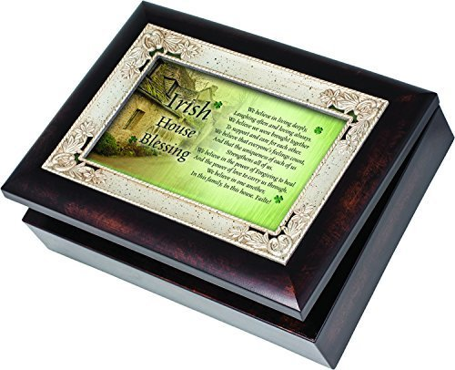 Irish House Blessing Cottage Garden Italian Style Burlwood Finish with Decorative Inlay Jewelry Music Musical Box Plays When Irish Eyes Are Smiling