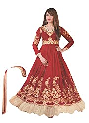 Divisha Fashions Pink Faux Georgette Embroidered Dress Material with dupatta
