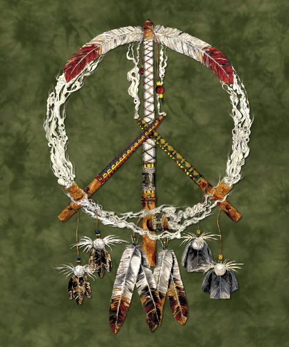 "Native ""Peace Pipes"" Queen Size Blanket - 79"" X 95"" front-505623"
