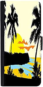 Snoogg Tropical Landscape Graphic Snap On Hard Back Leather + Pc Flip Cover S...