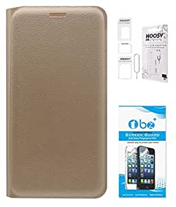 TBZ PU Leather Flip Cover Case for Oppo Joy 3 with Nossy Sim Adaptor and Tempered Screen Guard -Golden