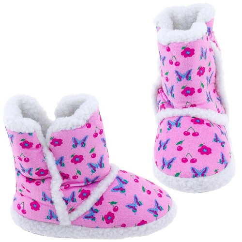 Image of Pink Butterfly Bootie Slippers for Toddlers and Girls (B005Y4SVZI)