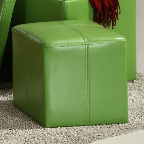 Storage Cube Ottoman in Green Bi-cast Vinyl of Ladd Collection by Homelegance