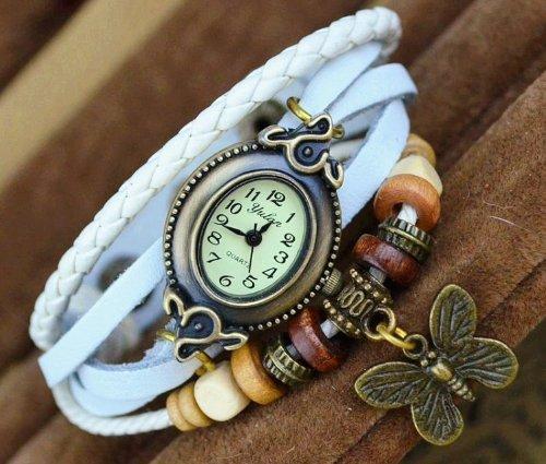 Kano Bak(Tm) Retro Bronze Women Ladies Weave Wrap Butterfly Pendant Leather Bracelet Bangle Quartz Gift Watch White