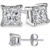 Unisex 925 Sterling Silver Princess Cubic Zirconia Square White Cz Stud Earrings.